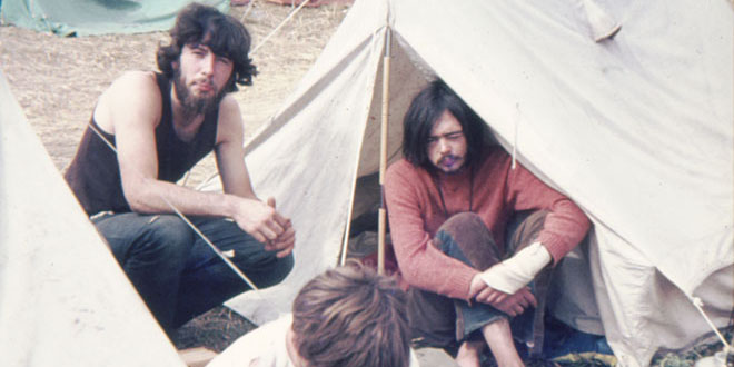 Even before the Elliss children came along, my parents were seasoned campers - my mother and father even went camping for their honeymoon. They also appear to have gone to some very dodgy-looking festivals, if this picture of my dad (and his friend, on the right) is anything to go by!