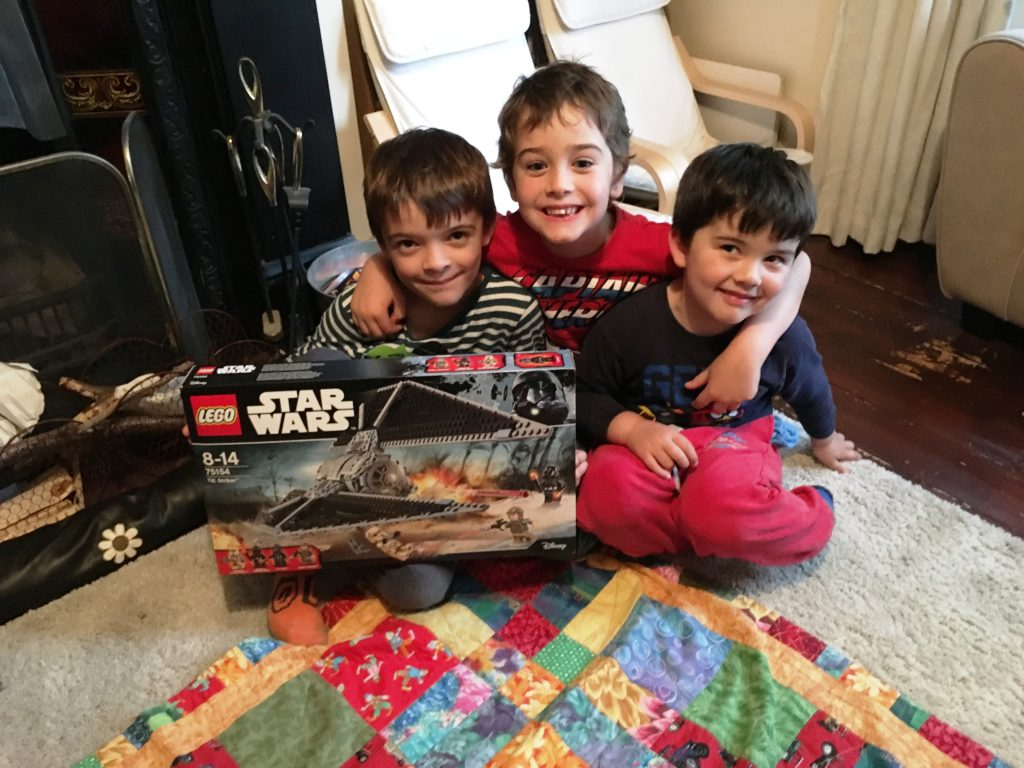 Robert and Freddie, along with their cousin Milo, about to start the build